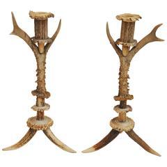 Pair of 18th Century Bavarian Antler Candlesticks