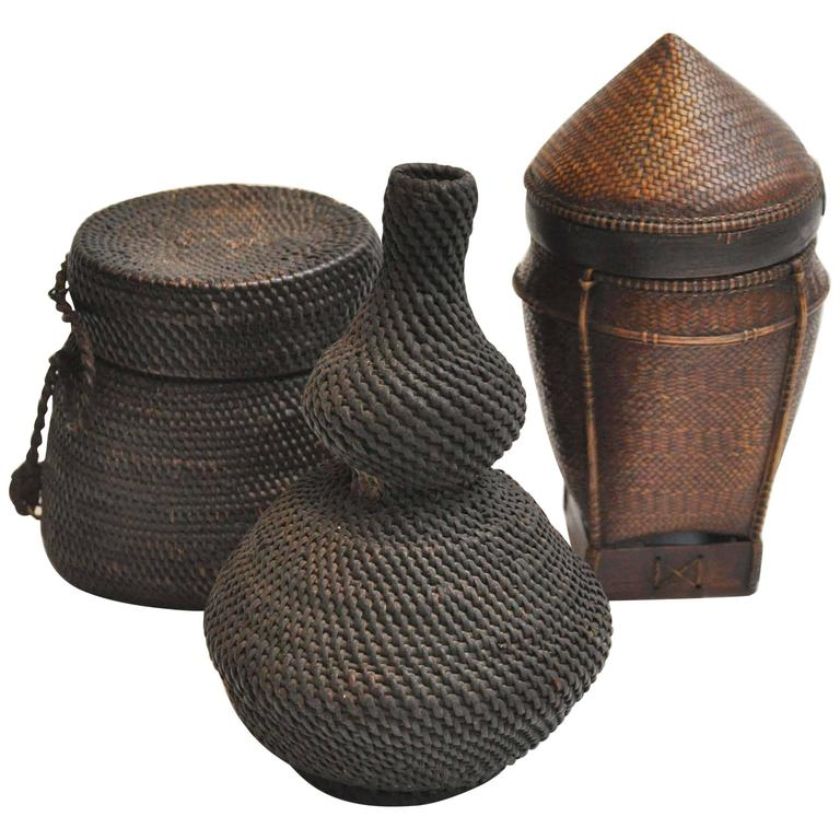 19th Century Asian Basket Trio