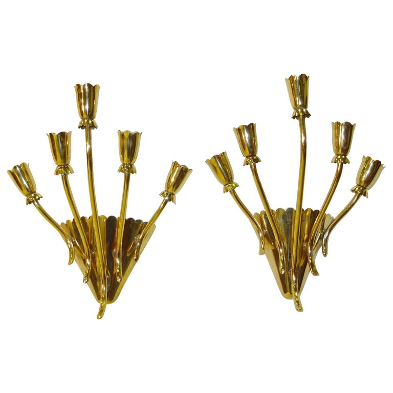 Pair of 1950s Italian Brass Five-Arm Wall Sconces