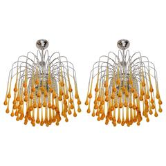 Two Murano Chandelier in the style of Venini, 1960s
