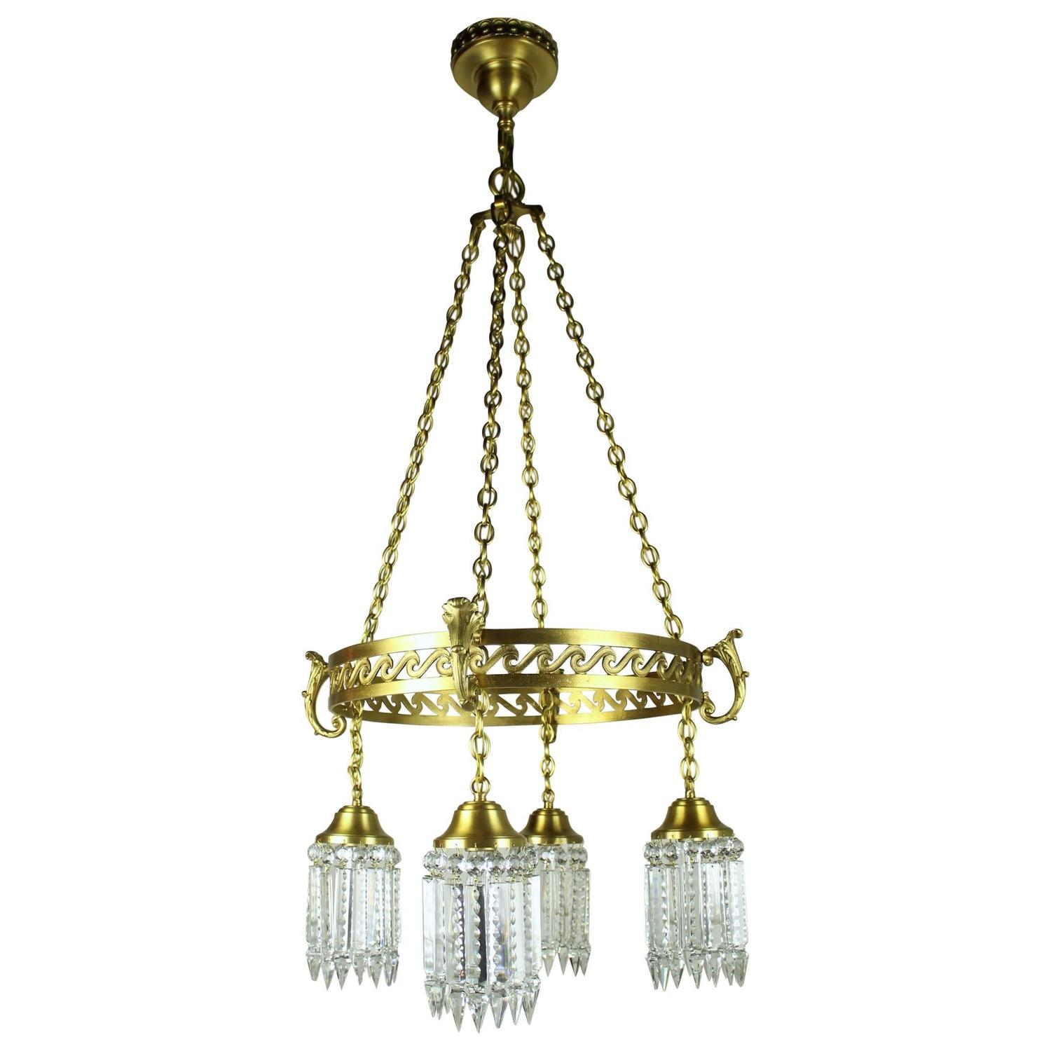 Chandelier Lighting Vancouver Bc: Neoclassical Brass Ring-Fixture With Notched Crystal For