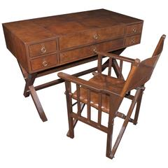Leather Campaign Desk and Chair Set Writing Table