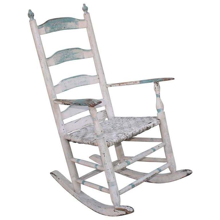 19th Century Original Blue and White Painted Rocking Chair