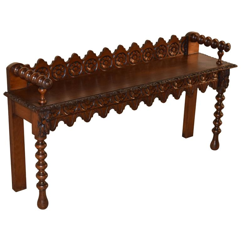 19th Century English Carved Window Bench