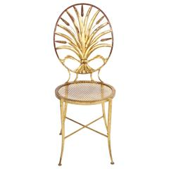 Italian Sheaf of Wheat Gilt Side Chair Salvadori
