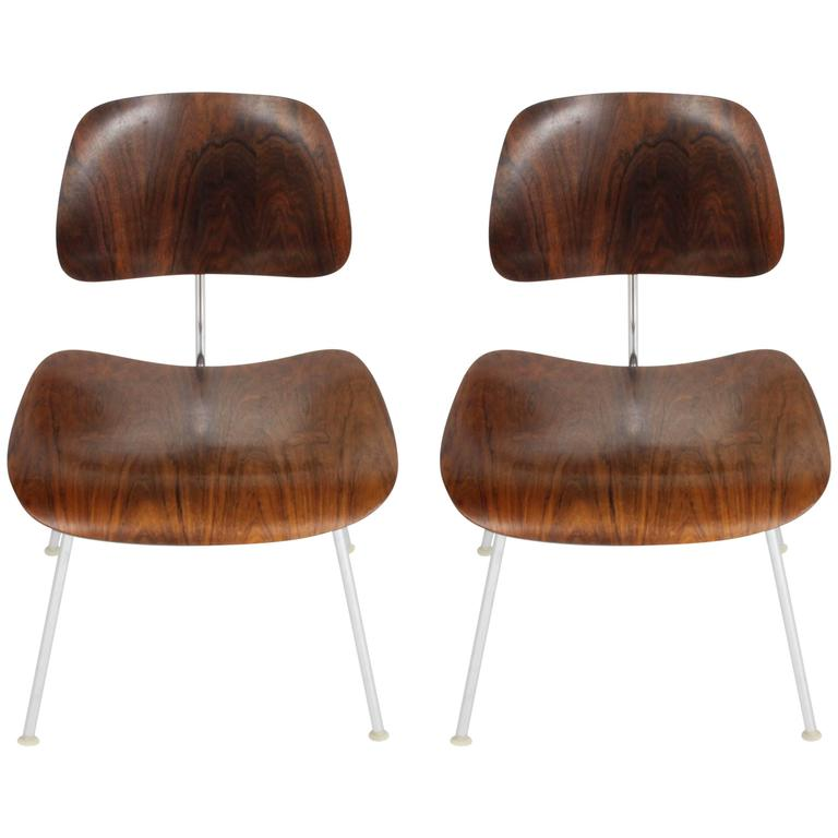Pair of Charles Eames for Herman Miller Rosewood DCM Chairs - Rare For Sale