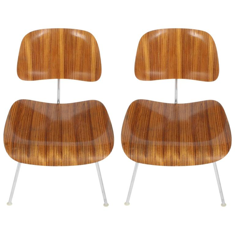 Pair of Charles Eames for Herman Miller Zebrawood DCM Chairs, Rare