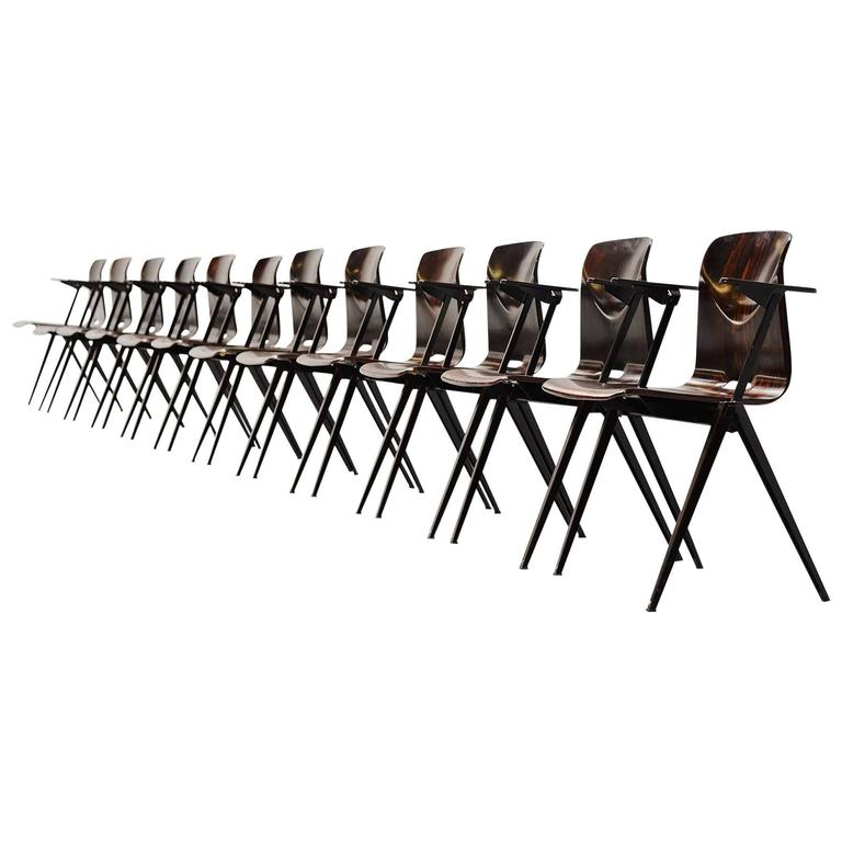 Pagholz Stacking Chairs with Arms Set of 12 Germany, 1970 For Sale