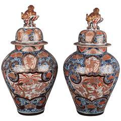 Pair of Japanese Porcelain Arita Imari Vases and Covers, circa 1700-1740