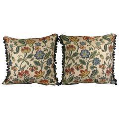 Pair of Botanical Blue Pillows