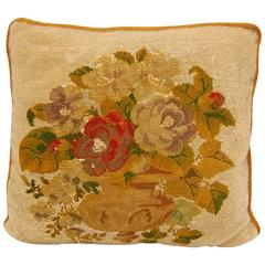 19th Century Victorian Needlepoint and Glass Beaded Panel as a Pillow