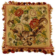 Early 20th Century Pillow with Needlepoint on Burgundy Velvet Backing