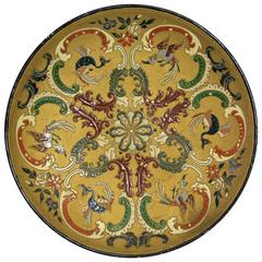 Majolica Wall Plate by Wilhelm Schiller & Son, circa 1890