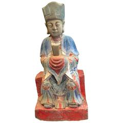 Chinese Tall Hand Carved Hand Painted Stone Garden Figure, Early 20th Century
