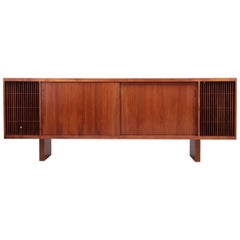 Huge Mid-Century Studio Hifi Phono Credenza in Walnut, USA 1960s