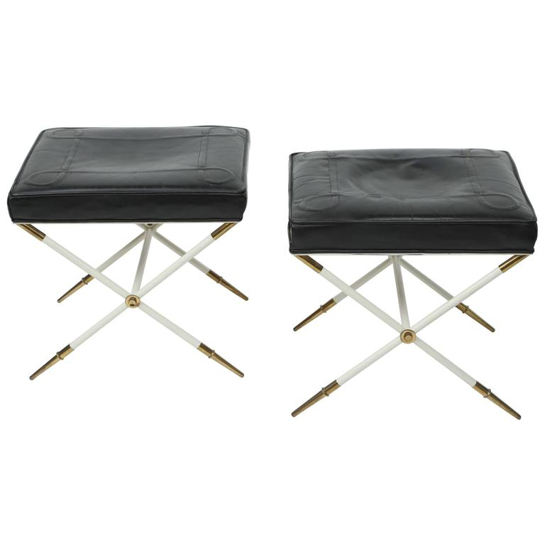 Tommi Parzinger Brass and Embossed Leather Stools
