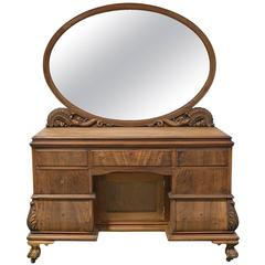 Belle Epoque Dressing Table in Mahogany with Oval Mirror with Carved Supports