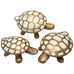 S/3 Vintage Brass and Mop Inlay Sculptural Turtle Boxes