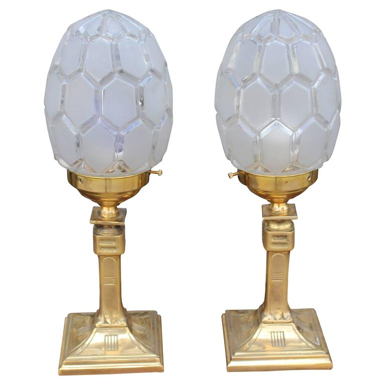 French Art Deco Pair of Brass Table Lamps For Sale