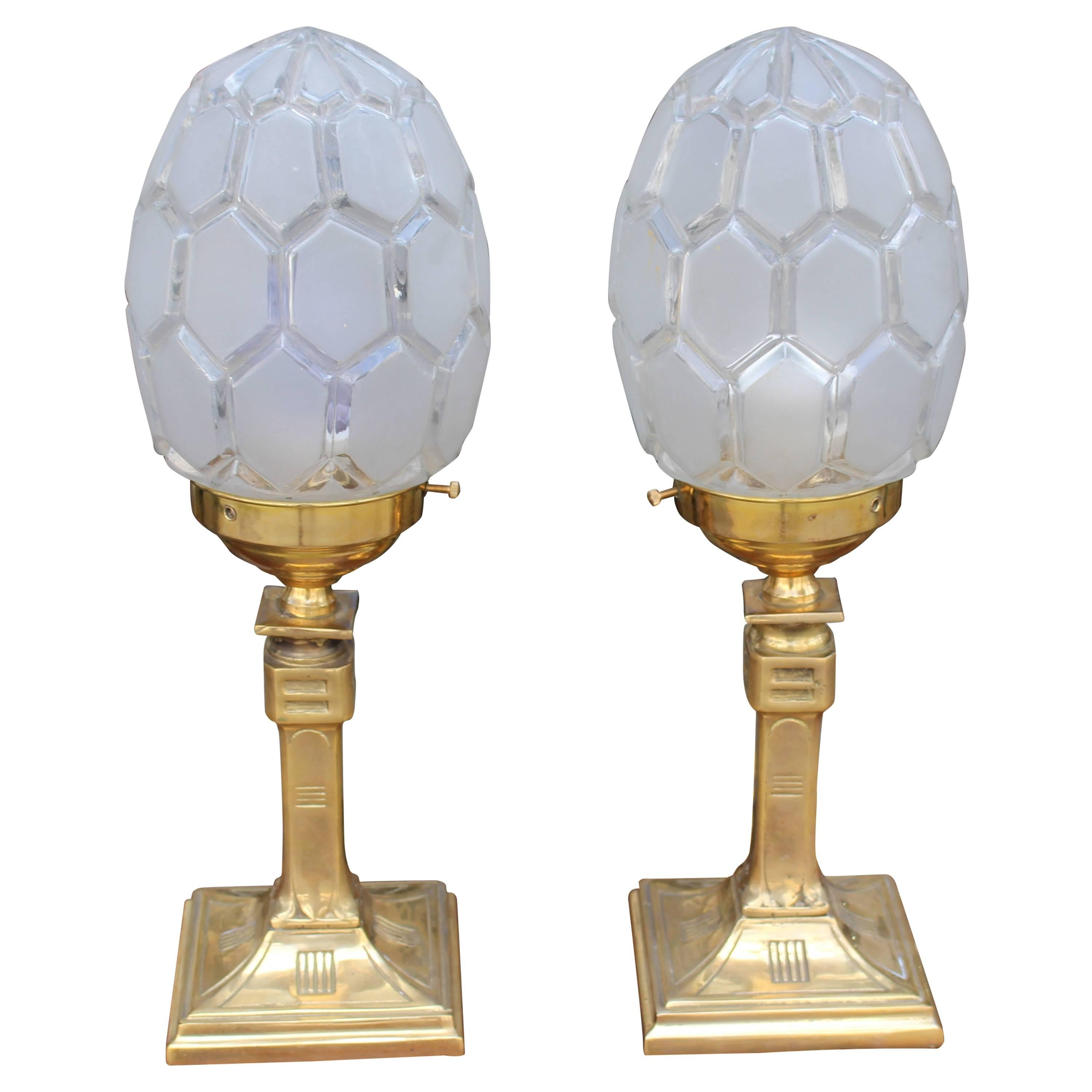 French Art Deco Pair of Brass Table Lamps
