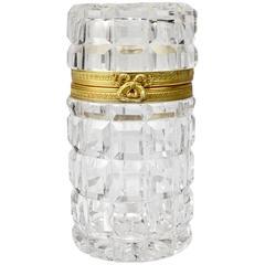 French Gilt Bronze-Mounted Cylindrical Cut Glass Dresser Box
