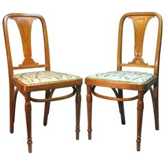 Rare Pair of Bentwood Side Chairs by Jacob & Josef Kohn, Czechoslovakia
