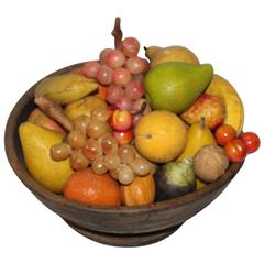 18th Century Treen Bowl Filled with Collection of 30-Piece of Stone Fruit