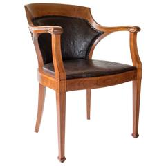 Nordiska Möblerings, Large and Comfortable Inlaid Walnut Jugend Armchair