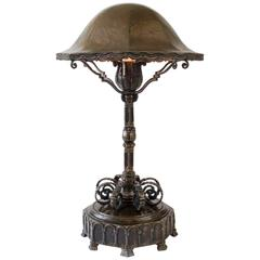 Niels Jacobsen, Rare Danish Patinated Bronze National Romantic Table Lamp
