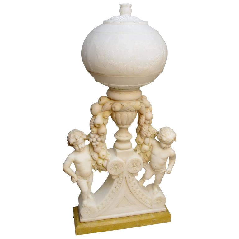 Italian Marble and Alabaster Carved Lamp