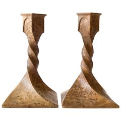 Pair of Scandinavian Solid Karelian Birch Twist-Form Jugend Candlesticks