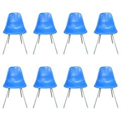 Eight Herman Miller Eames DSX Dining Chairs