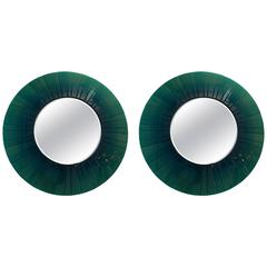 Pair of Large Green Glass Round Mirrors