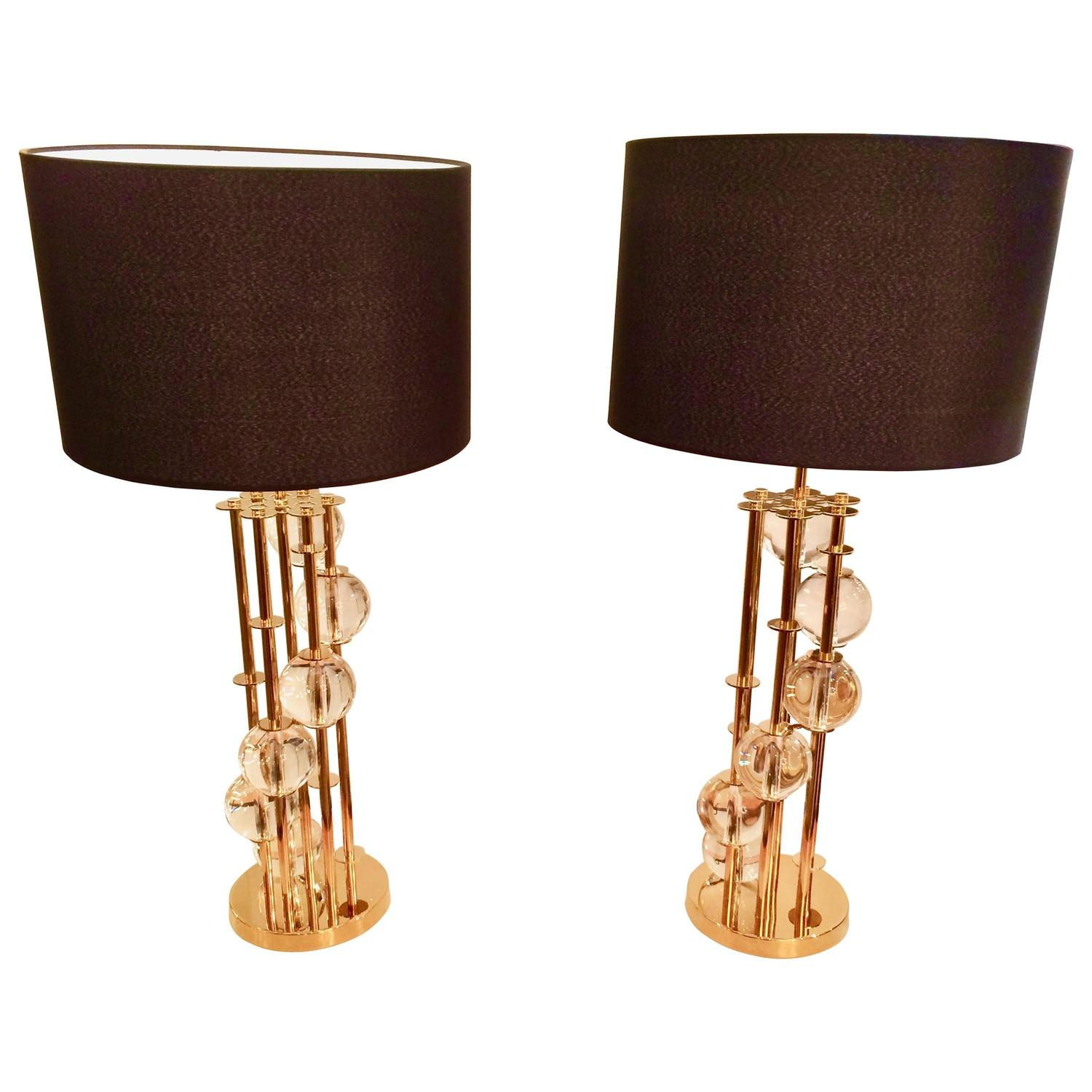 pair of brass and crystal lamps for sale at 1stdibs. Black Bedroom Furniture Sets. Home Design Ideas