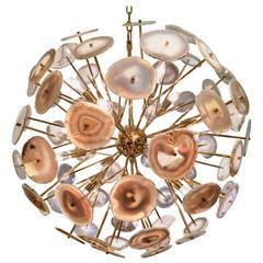 Sputnik or Sunburst Brass and Agate Stone Chandelier