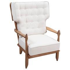 Guillerme et Chambron High Back Chair in Solid Oak, ''Votre Maison'' Edition