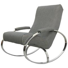 Mid-Century Chrome Rocking Chair by Milo Baughman