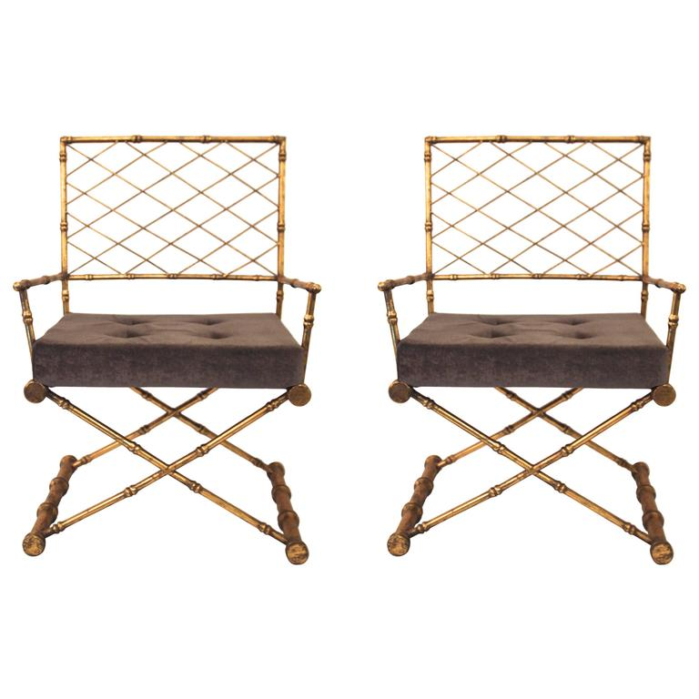 Pair of Armchairs, Antique Style, Gilded Iron, circa 1970, France 1