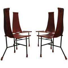 Set of Four Custom Latigo Leather and Steel Dining Chairs by Daniel Wenger