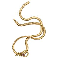 Art Deco Gold, Diamond, Pearl and Ruby Snake Necklace