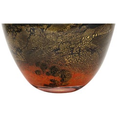 Volcanic Red and Black Terre Des Arts Handblown Glass Bowl