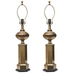 Stately Pair of Hexagonal Brass Lamps