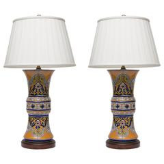 19th Century Pair of Moroccan Trumpet Vases as Lamps