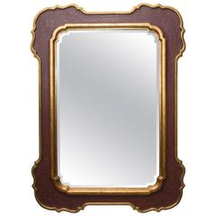 Unique Gilt and Cordovan Painted Mirror, 20th Century