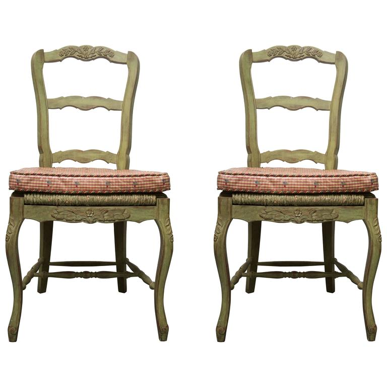 Pair of Green-Painted Oak Louis XV Style Side Chairs
