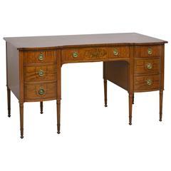 English Edwardian Satinwood Kneehole Desk