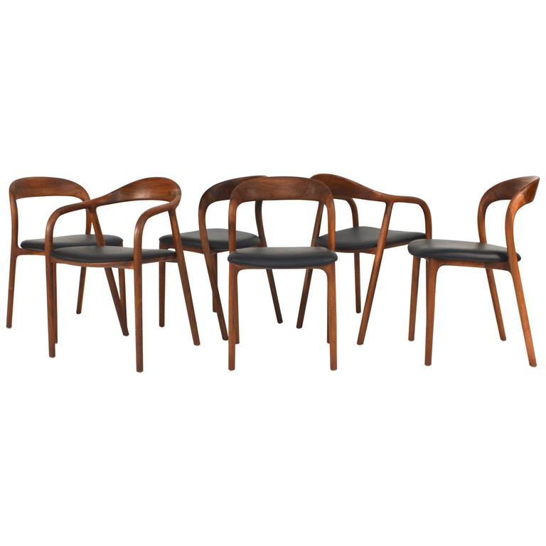 Artisan Collection Dining Room Chairs In European Walnut For Sale