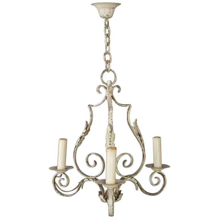Small French Wrought Iron Chandelier