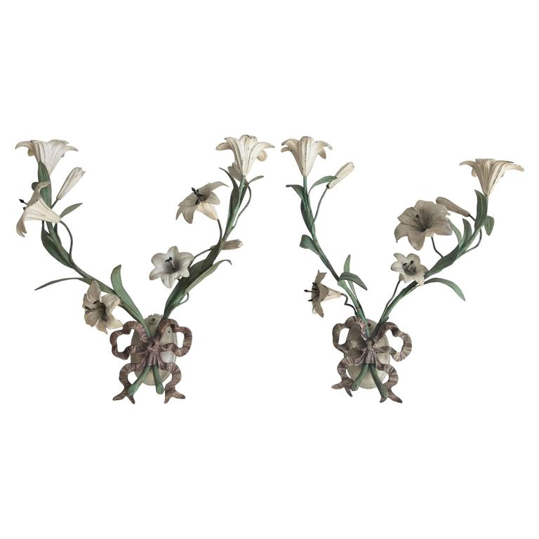 Decorative Lily Wall Sconces at 1stdibs