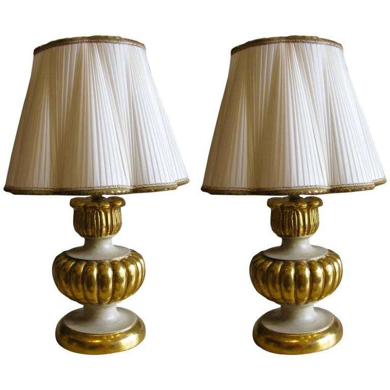 Pair of Italian Giltwood Ivory Painted Table Lamps with Hand-Sewn Shades 1980s